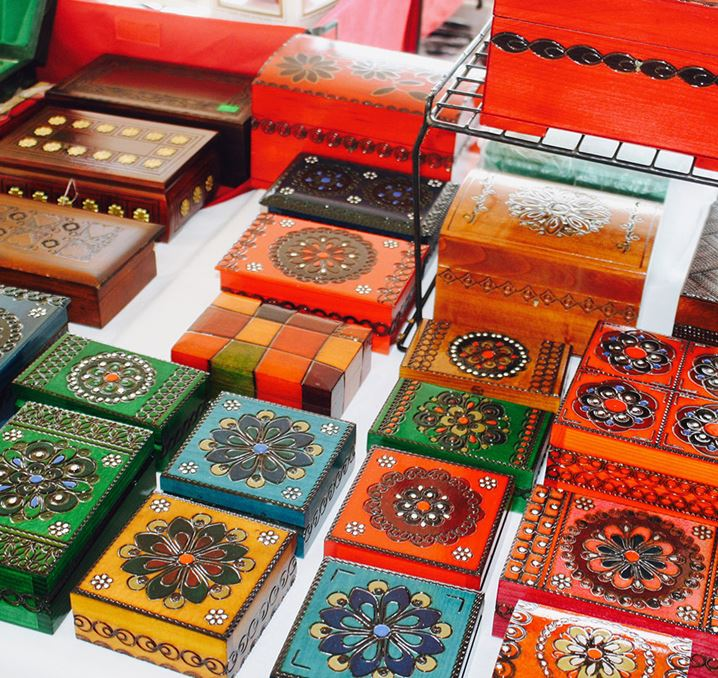 Decorative boxes on display
